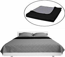 Couvre-lits à double c?tés Noir/Gris 230 x 260 cm