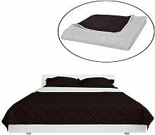 Couvre-lits à double côtés Beige/Marron 170 x