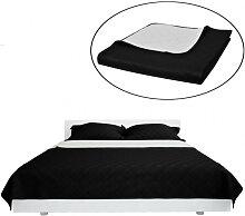 Couvre-lits à double côtés Noir/Blanc 170 x 210