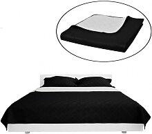 Couvre-lits à double côtés Noir/Blanc 230 x 260