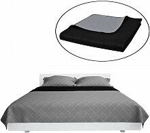 Couvre-lits à double côtés Noir/Gris 170 x 210