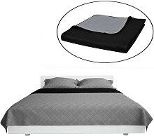 Couvre-lits à double côtés Noir/Gris 220 x 240
