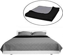 Couvre-lits à double côtés Noir/Gris 230 x 260