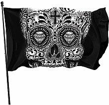 Crâne de bonbons noir et blanc durable drapeau