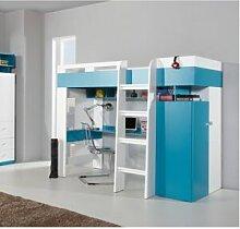CRDIS Lit mezzanine enfant en bois blanc et bleu,