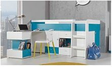 CRDIS Lit mezzanine enfant en bois, bureau, 3