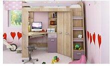 CRDIS Lit mezzanine enfant en bois, espace bureau