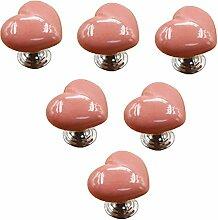 Creatwls Lot de 6 Forme de coeur Poignée-bouton