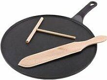 Crêpière en fonte avec spatule et racloir en