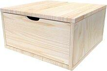 Cube de rangement bois 50x50 cm + tiroir Brut