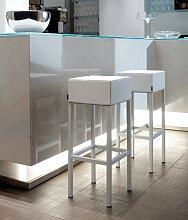 CUBE - Tabouret de bar moderne en acier et aspect