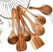 Cuillère à passoire en bois naturel, ustensiles