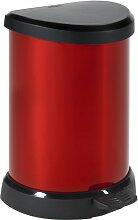 CURVER   Poubelle à pédale 20L, Argent rouge,