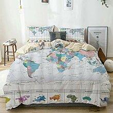 CVSANALA Parure de lit,Carte du Monde avec Les