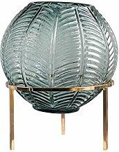 CYPZ Vase Rond Boule Cadre en métal Vase en Verre