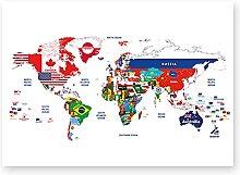 Dabbledown Impression sur Toile Carte du Monde