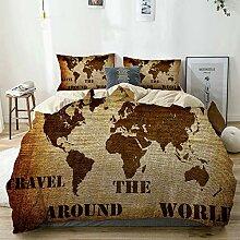 DAHALLAR Parure de lit,Beige,Carte du Monde