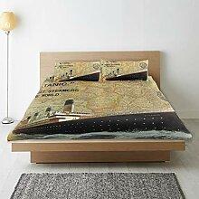 DAHALLAR Parure de lit,Tampon à Vapeur Carte du
