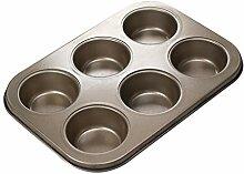 DAKIFENEY Moule à muffins en acier carbone à 6