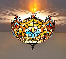 DALUXE Tiffany Style 2-Light Art Plafonnier Lampes