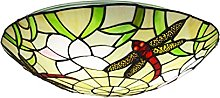 DALUXE Tiffany Style Dragonfly Round Plafonnier