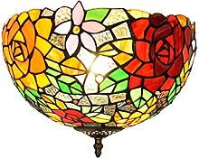 DALUXE Tiffany Style Plafonnier, 12 Pouces Rose