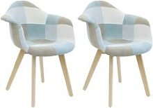 Damas - lot de 2 fauteuils patchwork bleu clair