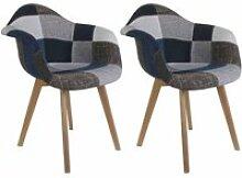Damas - lot de 2 fauteuils patchwork bleu et gris