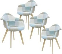 Damas - lot de 4 fauteuils patchwork bleu clair