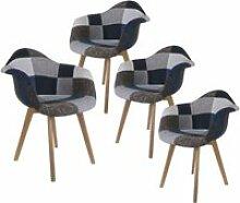 Damas - lot de 4 fauteuils patchwork bleu et gris