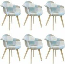 Damas - lot de 6 fauteuils patchwork bleu clair