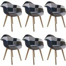 Damas - lot de 6 fauteuils patchwork bleu et gris
