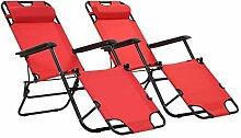 Daonanba 2pcs Chaise Longue Pliante avec Oreiller