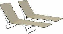 Daonanba 2pcs Chaise Longue Pliante avec Positions