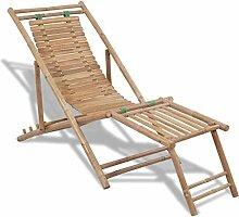 Daonanba Chaise Longue De Jardin Pliante en Bambou