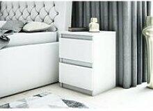 DAVOS - Table de chevet 2 tiroirs chambre -