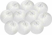 DAZONE Lanterne Papier 10pcs Abat-jour Blanc Sans