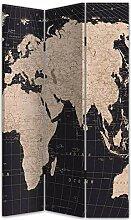 Deco Line Paravent 3 Panneaux, Carte du Monde, 180