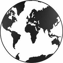 Déco murale carte du monde en métal ajouré noir