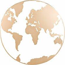 Déco murale carte du monde en métal doré 70x70