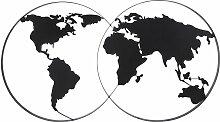Déco murale carte du monde en métal noir 143x79