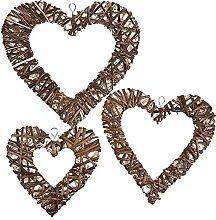 Décor suspendu en forme de coeur-3 pièces à la