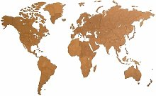 Décoration carte du monde mural Bois Marron