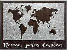 Décoration murale carte du monde en bois et zinc
