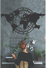 Décoration murale en métal, carte du monde,