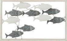 Décoration murale poisson nage métal/bois