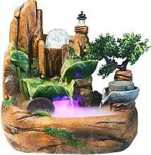 Indoor Fontaine avec lumières DEL-lumineux cascade table mur de pierre et