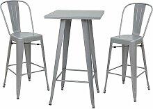 Décoshop26 - Ensemble table haute avec 2