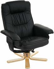Décoshop26 - Fauteuil relax en simili-cuir noir
