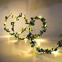 DEDC 3M 30 LED Fleur Feuille Verte Rotin Guirlande